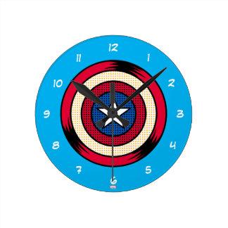 Captain America Halftone Shield Wallclocks
