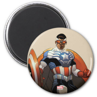 Captain America In Flight 2 Inch Round Magnet