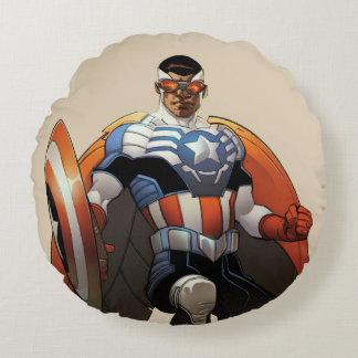 Captain America In Flight Round Pillow