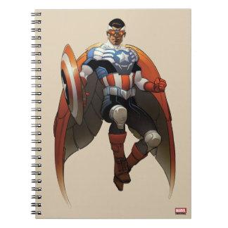 Captain America In Flight Spiral Note Book