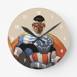 Captain America In Flight Wall Clocks