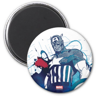 Captain America Ink Splatter Graphic 2 Inch Round Magnet
