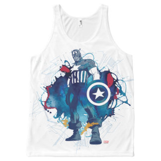 Captain America Ink Splatter Graphic All-Over-Print Tank Top