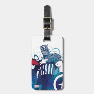 Captain America Ink Splatter Graphic Bag Tag