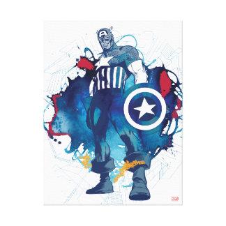 Captain America Ink Splatter Graphic Canvas Print
