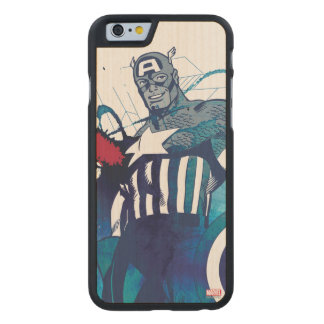 Captain America Ink Splatter Graphic Carved Maple iPhone 6 Case