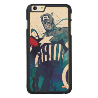 Captain America Ink Splatter Graphic Carved® Maple iPhone 6 Plus Case