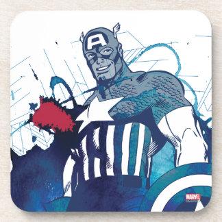 Captain America Ink Splatter Graphic Coaster