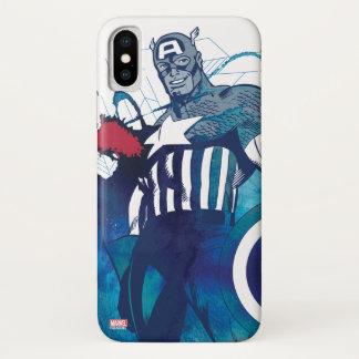 Captain America Ink Splatter Graphic iPhone X Case