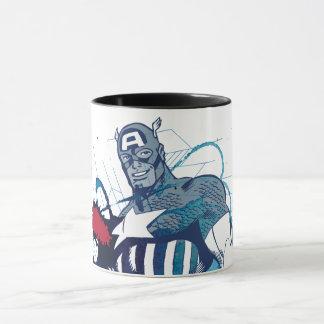 Captain America Ink Splatter Graphic Mug