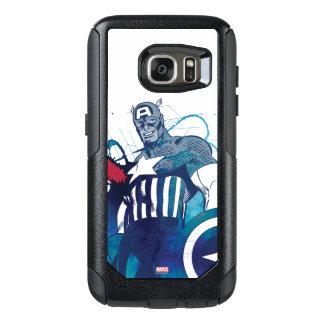 Captain America Ink Splatter Graphic OtterBox Samsung Galaxy S7 Case