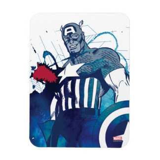 Captain America Ink Splatter Graphic Rectangular Photo Magnet