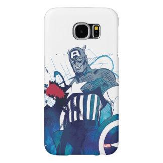 Captain America Ink Splatter Graphic Samsung Galaxy S6 Cases