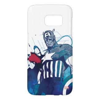 Captain America Ink Splatter Graphic Samsung Galaxy S7 Case