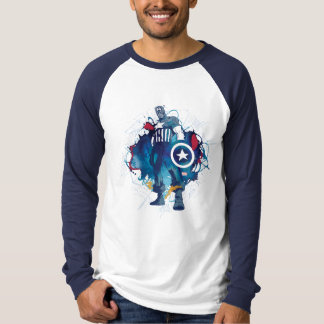 Captain America Ink Splatter Graphic T-Shirt