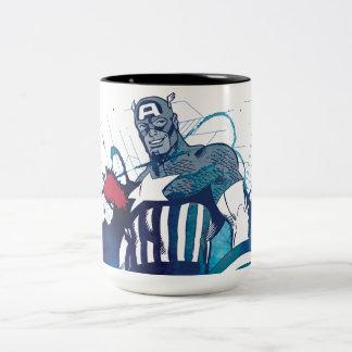 Captain America Ink Splatter Graphic Two-Tone Coffee Mug