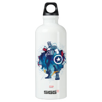 Captain America Ink Splatter Graphic Water Bottle