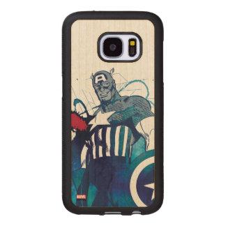 Captain America Ink Splatter Graphic Wood Samsung Galaxy S7 Case