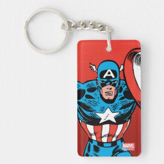 Captain America Jump Double-Sided Rectangular Acrylic Keychain