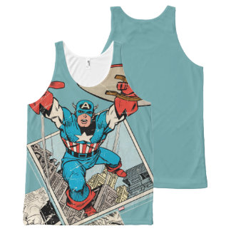 Captain America Leaping Out Of Comic All-Over-Print Tank Top