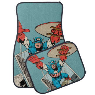 Captain America Leaping Out Of Comic Car Mat