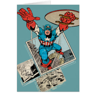 Captain America Leaping Out Of Comic Card