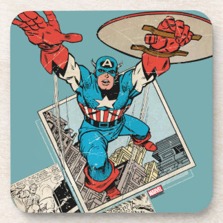 Captain America Leaping Out Of Comic Coaster