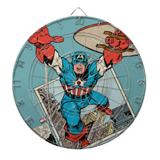 Captain America Leaping Out Of Comic Dartboards