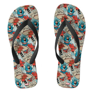 Captain America Leaping Out Of Comic Flip Flops