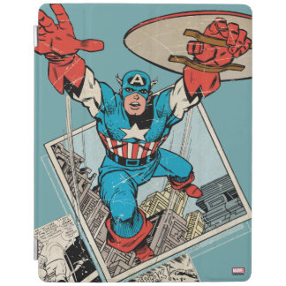 Captain America Leaping Out Of Comic iPad Cover