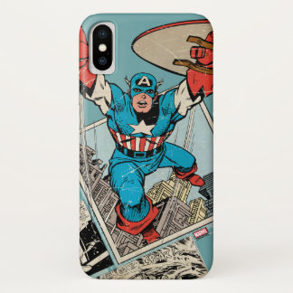 Captain America Leaping Out Of Comic iPhone X Case