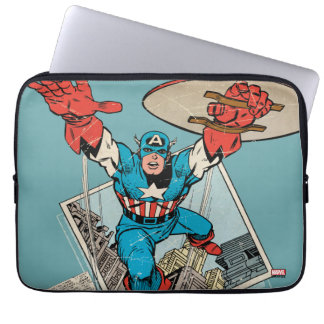 Captain America Leaping Out Of Comic Laptop Sleeve