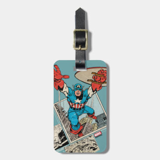 Captain America Leaping Out Of Comic Luggage Tag