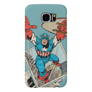 Captain America Leaping Out Of Comic Samsung Galaxy S6 Cases
