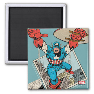 Captain America Leaping Out Of Comic Square Magnet
