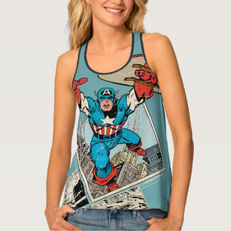 Captain America Leaping Out Of Comic Tank Top