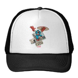 Captain America Leaping Out Of Comic Trucker Hat