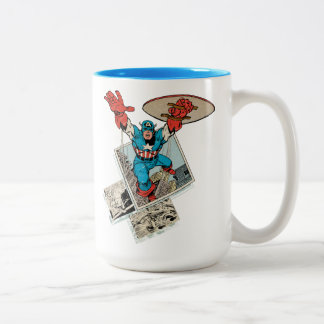 Captain America Leaping Out Of Comic Two-Tone Coffee Mug
