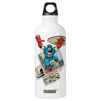 Captain America Leaping Out Of Comic Water Bottle