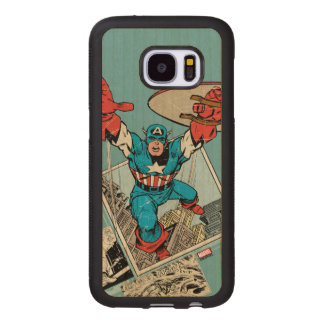 Captain America Leaping Out Of Comic Wood Samsung Galaxy S7 Case