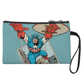 Captain America Leaping Out Of Comic Wristlet