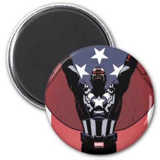 Captain America Patriotic City Graphic 2 Inch Round Magnet