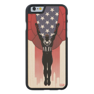 Captain America Patriotic City Graphic Carved Maple iPhone 6 Case