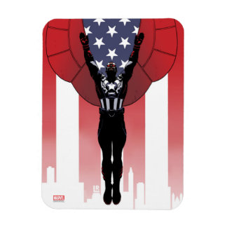 Captain America Patriotic City Graphic Rectangular Photo Magnet