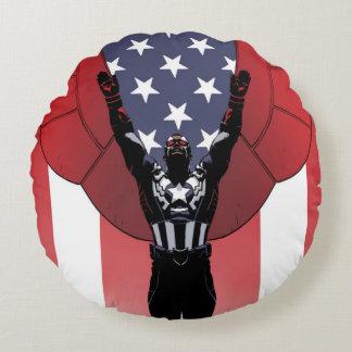 Captain America Patriotic City Graphic Round Pillow