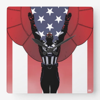 Captain America Patriotic City Graphic Wall Clock
