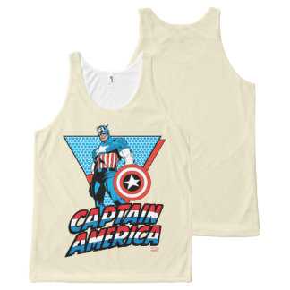 Captain America Retro Character Graphic All-Over-Print Tank Top