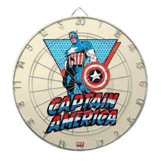 Captain America Retro Character Graphic Dartboard With Darts
