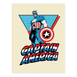 Captain America Retro Character Graphic Postcard