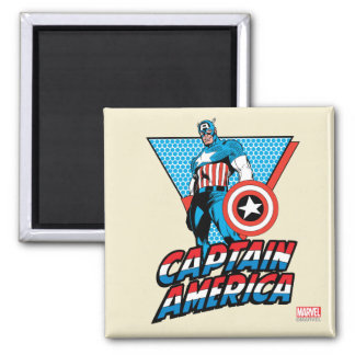 Captain America Retro Character Graphic Square Magnet